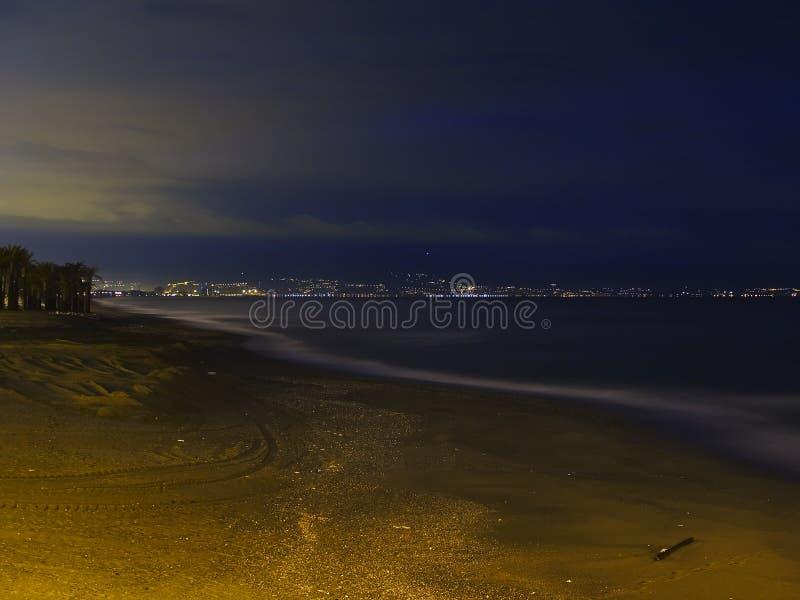 Verlaten strand in Torremolinos stock foto