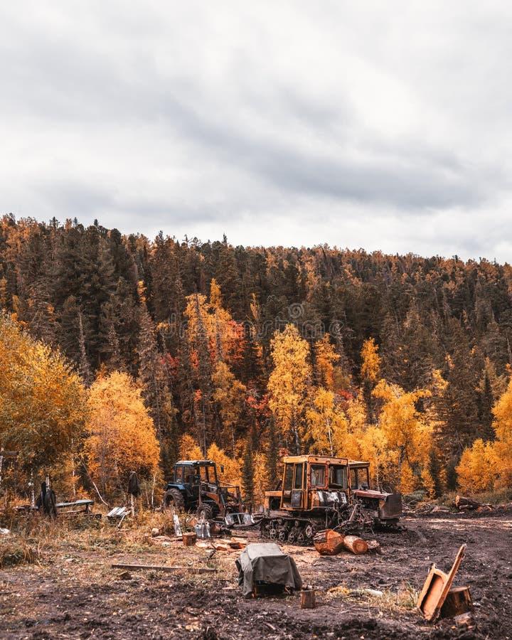 Verlaten tractoren in het bos royalty-vrije stock foto's