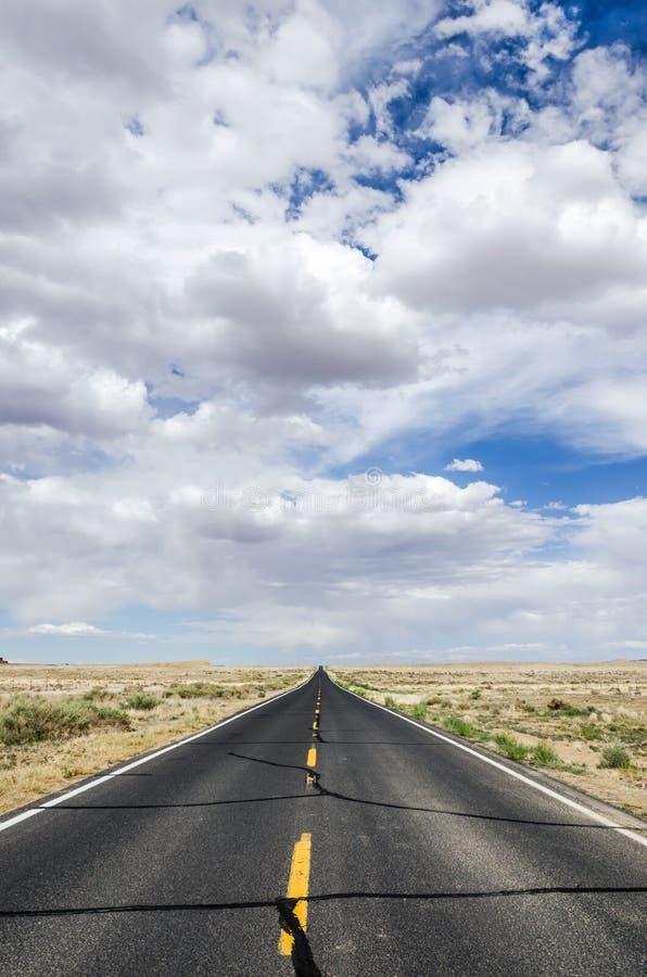 Verlaten weg door de woestijn onder bewolkte hemel stock afbeeldingen