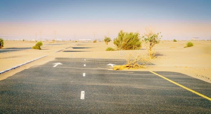 Verlaten woestijnweg stock afbeeldingen