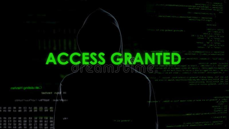 Verleende toegang, het succesvolle binnendringen in een beveiligd computersysteem, cyber aanval op persoonsgegevens of rekening royalty-vrije stock foto
