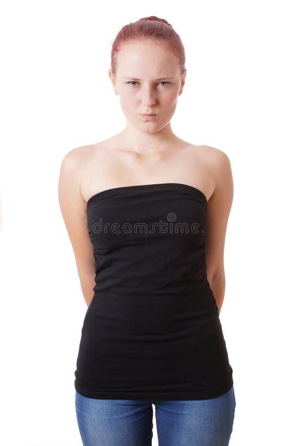 Verlegen Jonge Vrouw stock fotografie