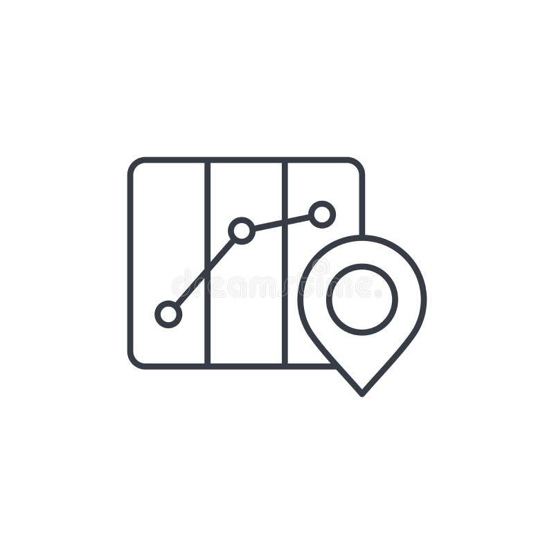 Verlegen Sie Markierung, Reisekarte und stecken Sie dünne Linie Ikone fest Lineares Vektorsymbol lizenzfreie abbildung