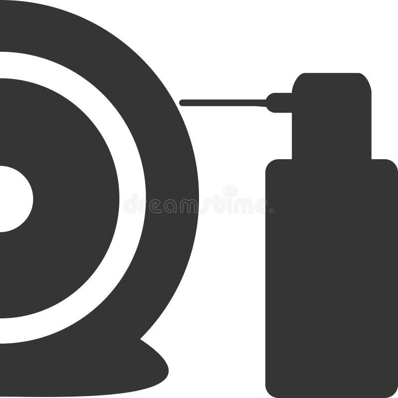Verlegenheits-Ebene entlüfteter Reifen - Spray-Dosen-Symbol stock abbildung