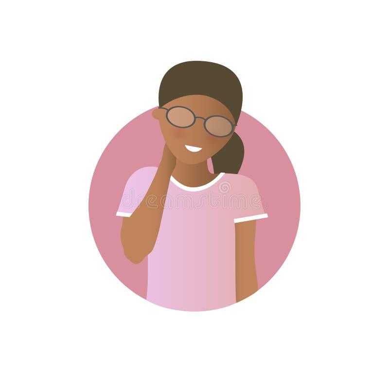 Verlegenheitsausdruck, schwarzes Mädchen schüchtern, schüchtern Flache Steigungsvektorikone lizenzfreie abbildung