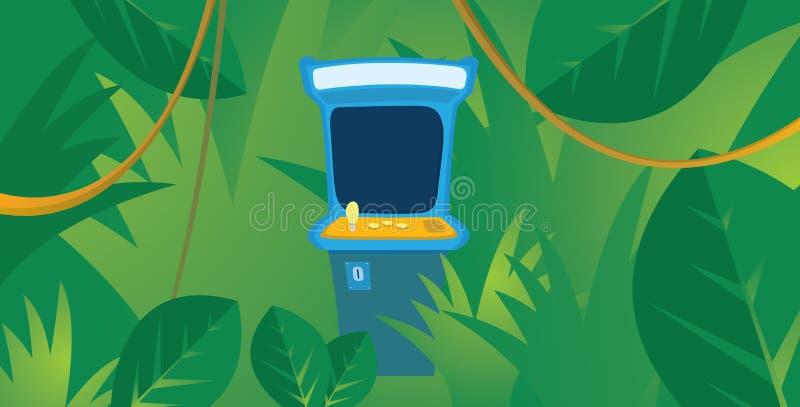 Verlegte Säulengangmaschine, die im Dschungel sich versteckt vektor abbildung