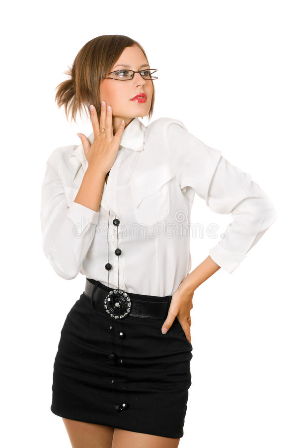 Verleidelijk meisje in een zwarte rok en een wit overhemd royalty-vrije stock foto