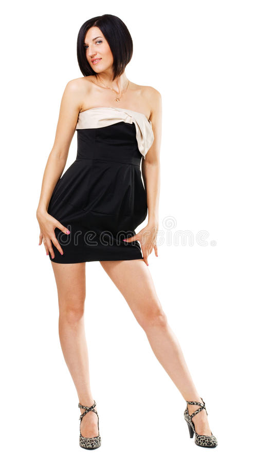 Verleidelijke elegante vrouw in zwarte toga stock foto