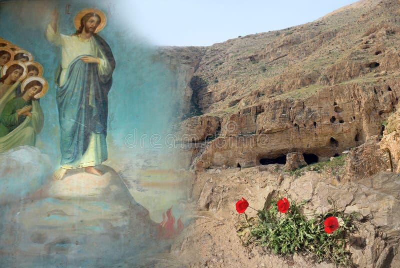 Verleidingen van Jesus Christ, woestijnberg, papavers stock afbeelding