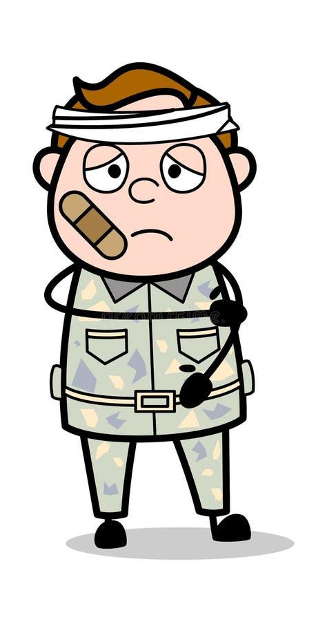 Verletzte Person - netter Armee-Mann-Karikatur-Soldat Vector Illustration vektor abbildung