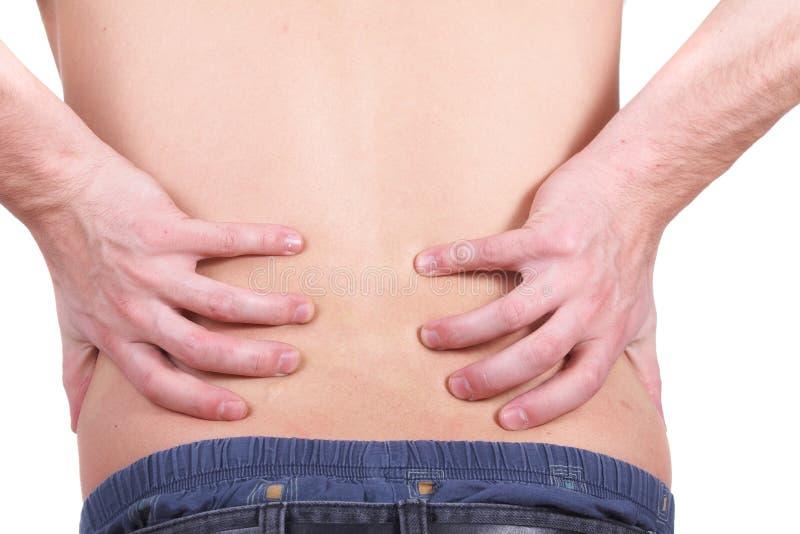 Verletzung von Rückenschmerzen stockbild