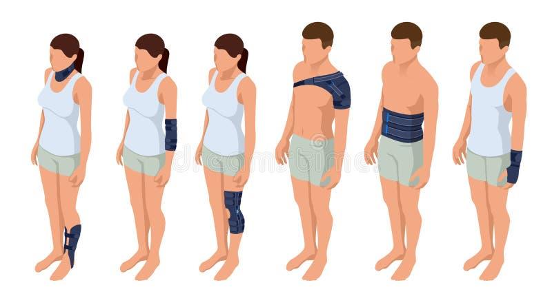 Verletzungshals, Schulter, Arm, Bein, Rückseite, Osteoporose immobilizer Rehabilitation nach Trauma Orthopädie und Medizin lizenzfreie abbildung