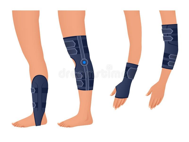 Verletzungsschulter, Arm, Bein, Rückseite, Osteoporose immobilizer Rehabilitation nach Trauma Orthopädie und Medizin stock abbildung