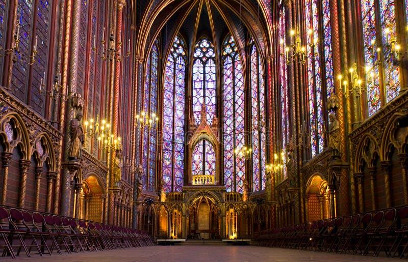 Verlicht binnenland van Sainte Chapelle royalty-vrije stock afbeelding