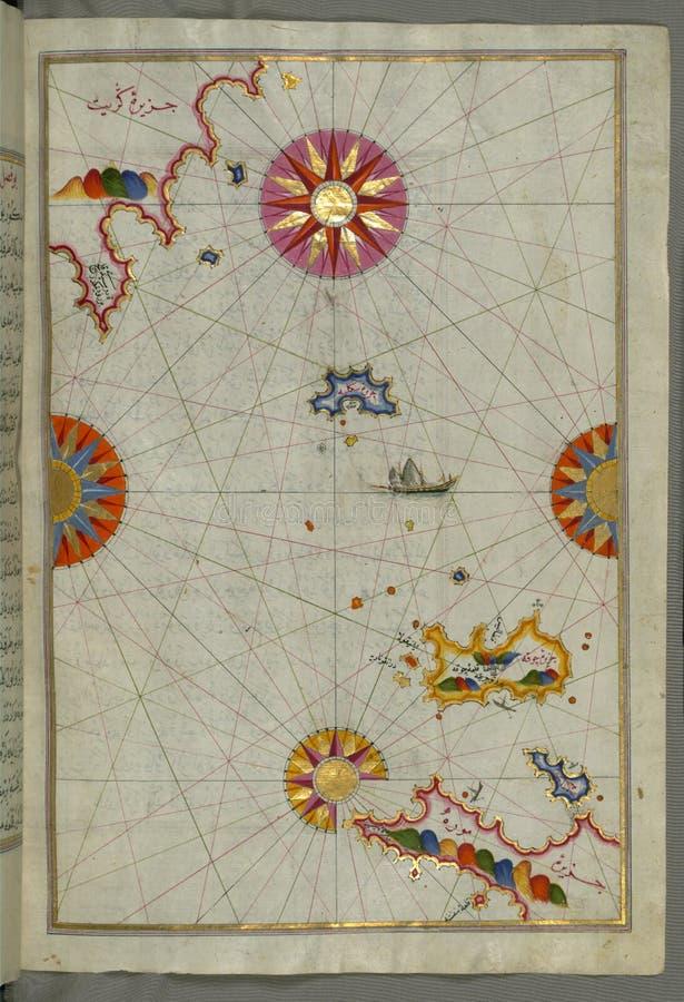 Verlicht Manuscript de rek van water tussen de Peloponnesus ( Morea, Mora) schiereiland en het Eiland van het verstand van Kreta royalty-vrije stock afbeeldingen