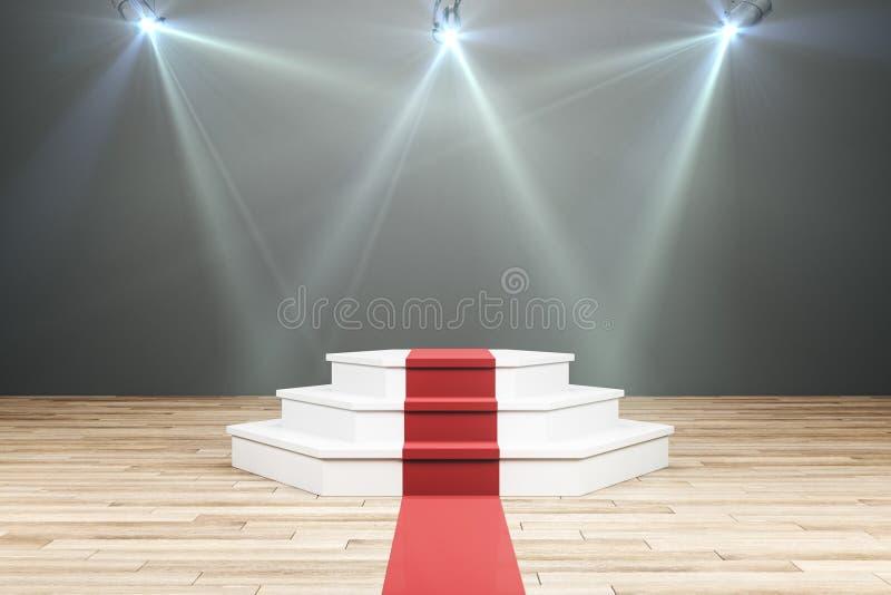 Verlicht voetstuk met rood tapijt stock illustratie