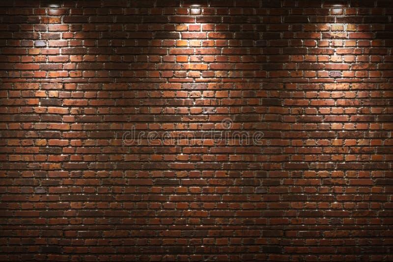 Verlichte bakstenen muur royalty-vrije illustratie