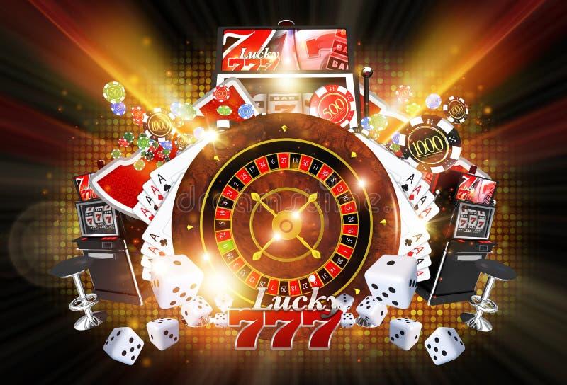 Verlichte Casinospelen stock illustratie
