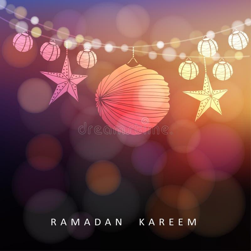 Verlichte document lantaarns en sterren met lichten, Ramadan