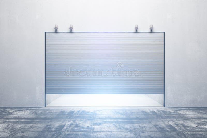 Verlichte garage met gesloten deur royalty-vrije illustratie