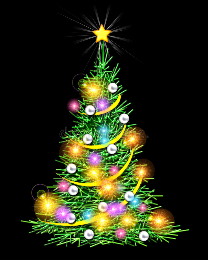 Verlichte kerstboom - stock illustratie