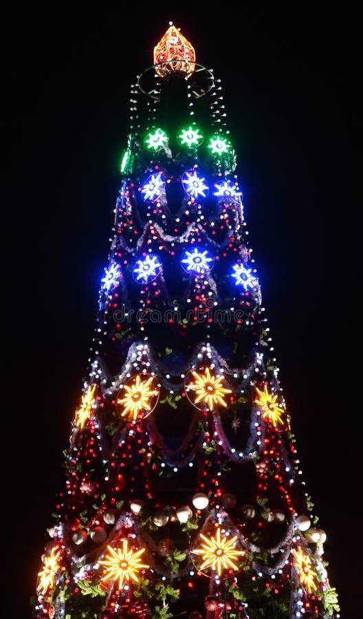 Verlichte kerstboom stock afbeelding. Afbeelding bestaande uit ...