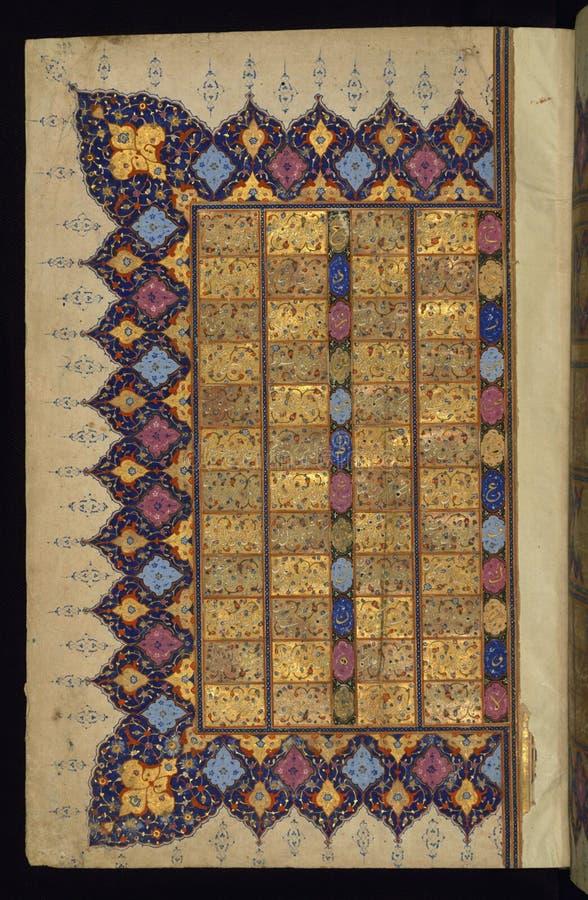 Verlichte Manuscriptenkoran, de linkerkant van een dubbele pagina van een lijst van waarzegging ( bibliomancy of tafa' ul) , royalty-vrije stock fotografie