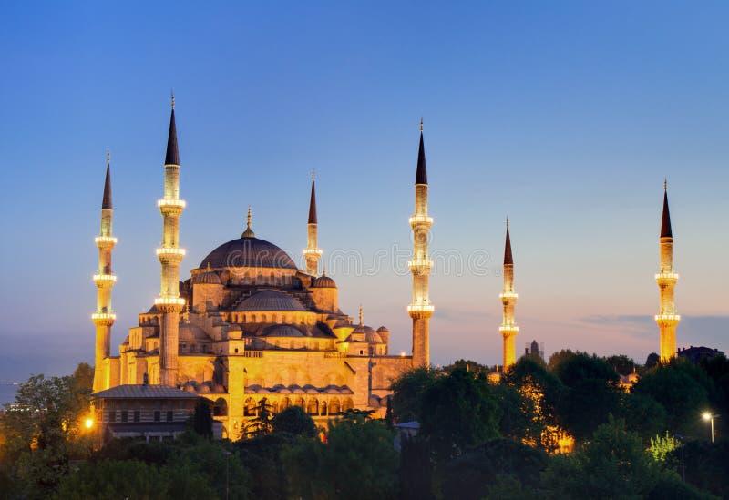 Verlichte Sultan Ahmed Mosque stock foto's
