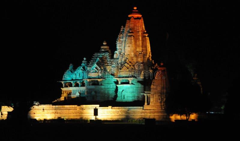 Verlichte Tempels van Khajuraho, India stock foto's
