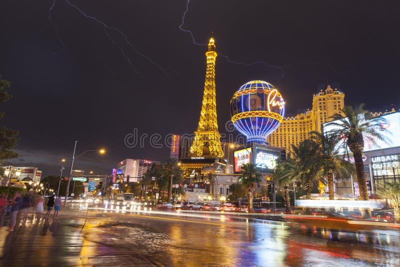 Verlichtend boven de Boulevard van Las Vegas in Las Vegas, NV op 19 Juli royalty-vrije stock foto