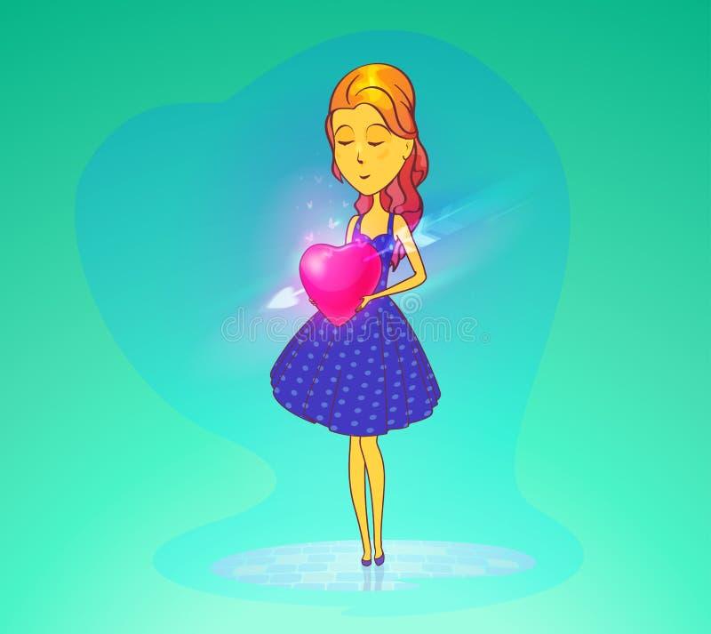 Verliebte Frau oder Mädchen, die Herz halten stock abbildung