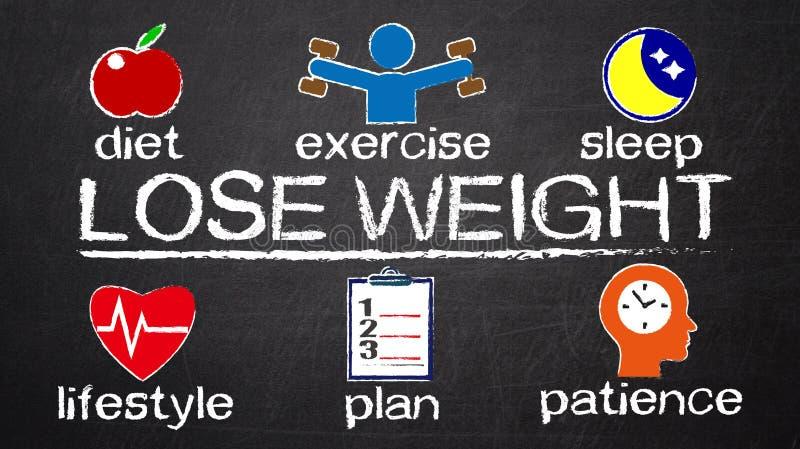 Verlieren Sie Gewichtskonzeptdiagramm mit in Verbindung stehenden Elementen vektor abbildung
