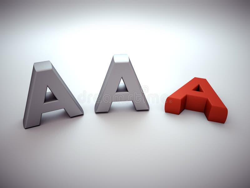 Verlierende AAA-Darstellung lizenzfreie abbildung