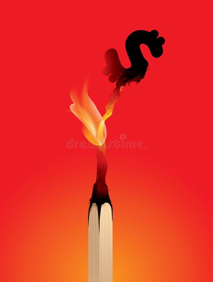 Verliezend geld, Matchstick-het branden, risico, financiën royalty-vrije illustratie