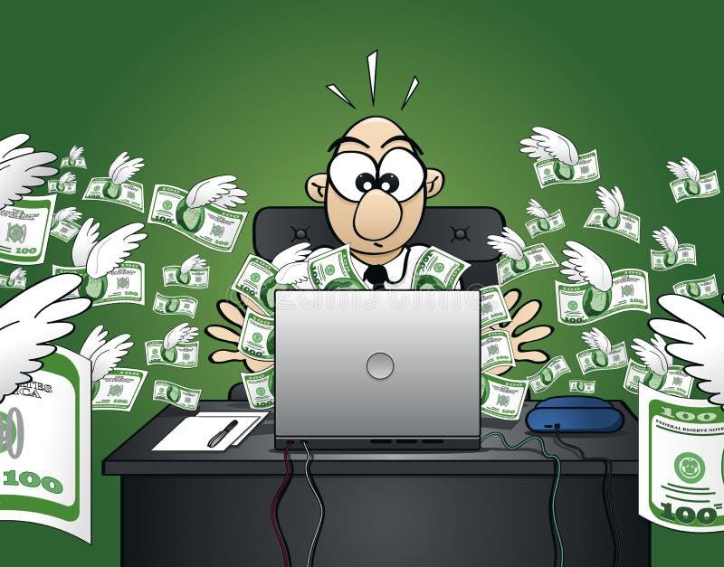 Verliezend geld op het Web - de Versie van de Dollar royalty-vrije illustratie