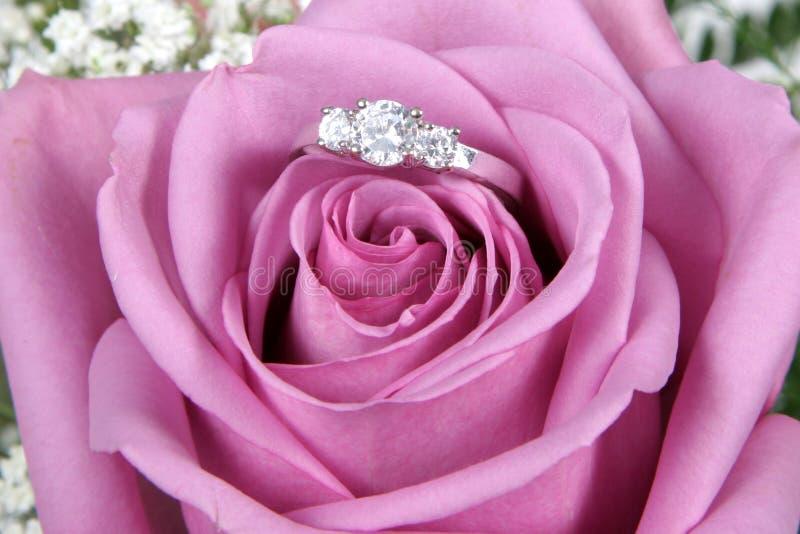 Verlobungsring in rosafarbener Rose stockbilder
