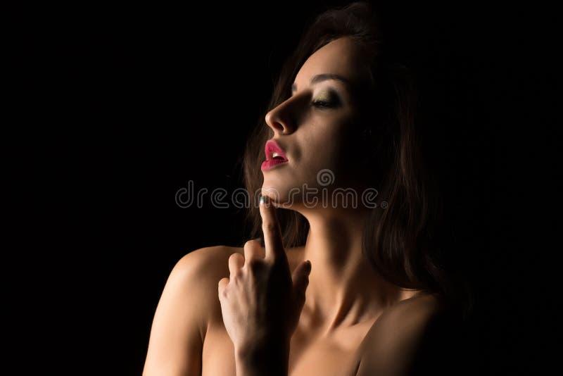 Verlockende Brunettefrau mit dem hellen Make-up, das mit nacktem SH aufwirft lizenzfreies stockbild