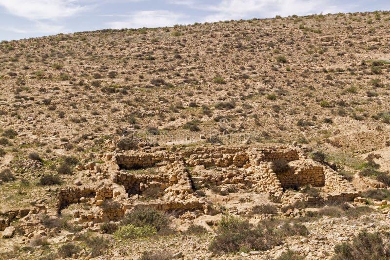 ` Verloor Stads` ruïnes in Negev-Woestijn, Israël royalty-vrije stock foto
