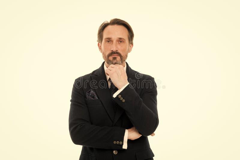 Verloren in bedrijfsgedachten Rijpe zakenman in formele slijtage Modieuze oude bedrijfspersoon Hogere mens met grijs stock afbeelding