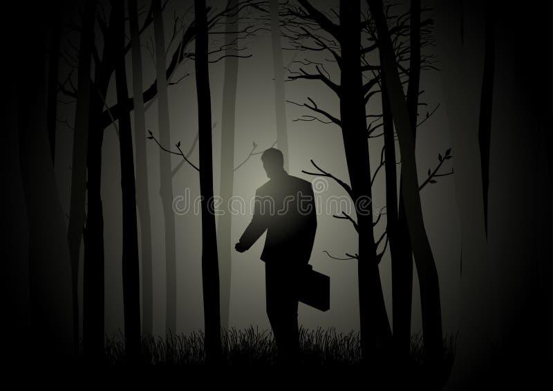 Verloren in dark vector illustratie