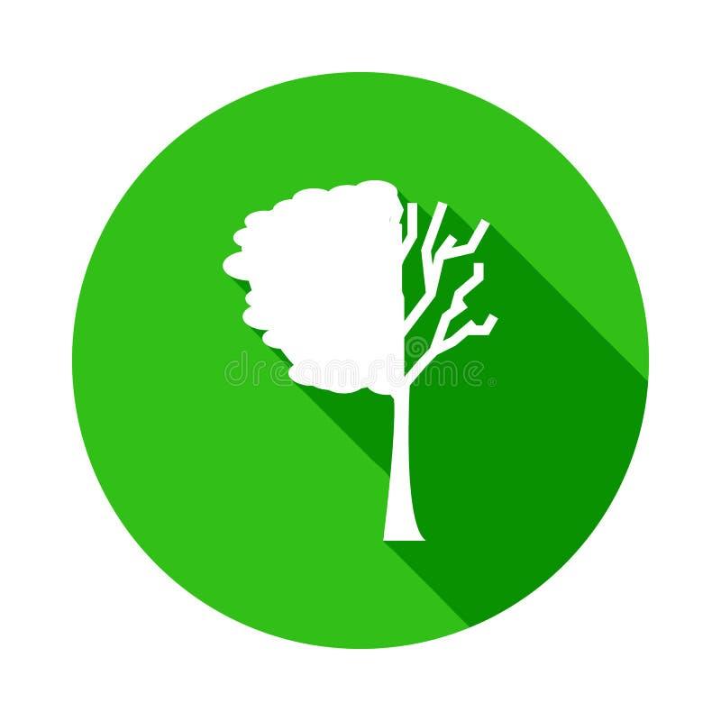 verloren de boom verlaat groen pictogram in Kentekenstijl met schaduw stock illustratie