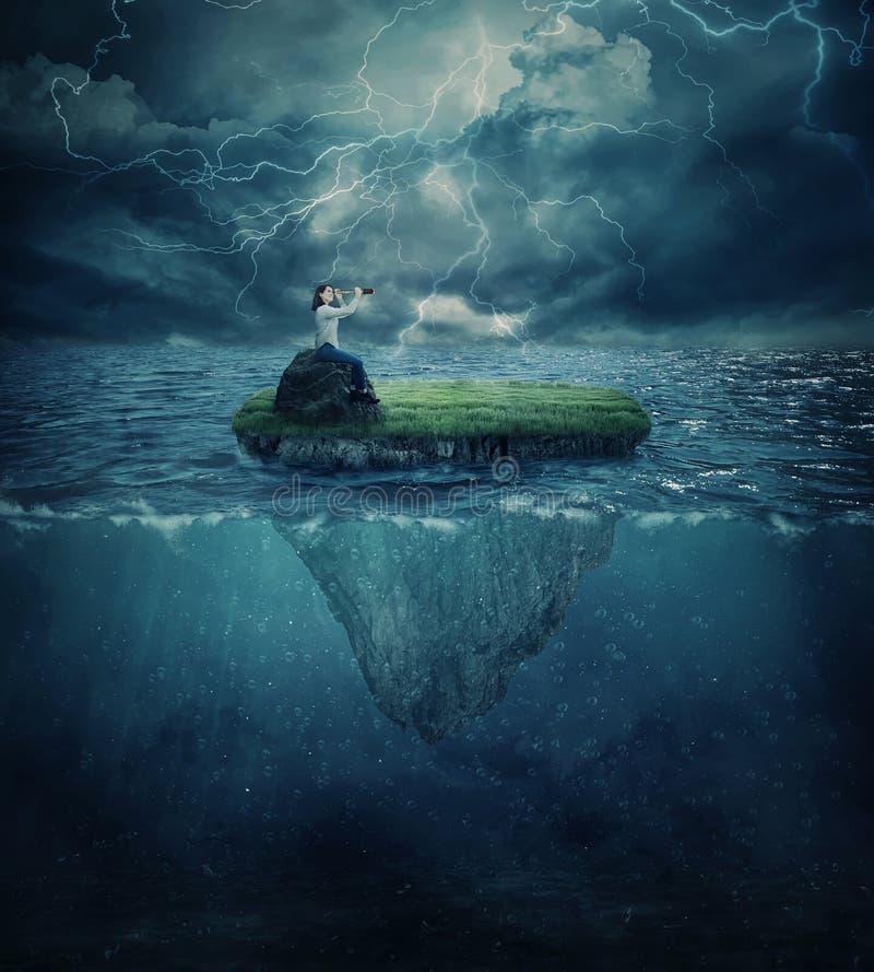 Verloren in de oceaan royalty-vrije stock afbeelding