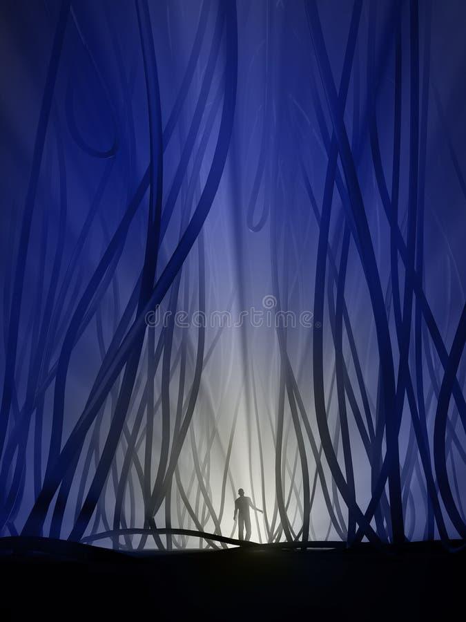 Verloren in de ondergrondse wildernis stock illustratie