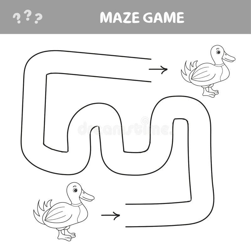 Verloren eendje Hulpeend om een weg te vinden Labyrint voor jonge geitjes Vector illustratie vector illustratie