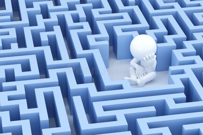 Verloren en droevige mens in centrum van het labyrint stock illustratie