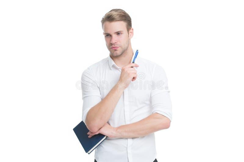 Verloren gedachte Ernstige man geïsoleerd op wit Schrijver of verslaggever denkt over boek Penman of auteur literatuur en stock foto