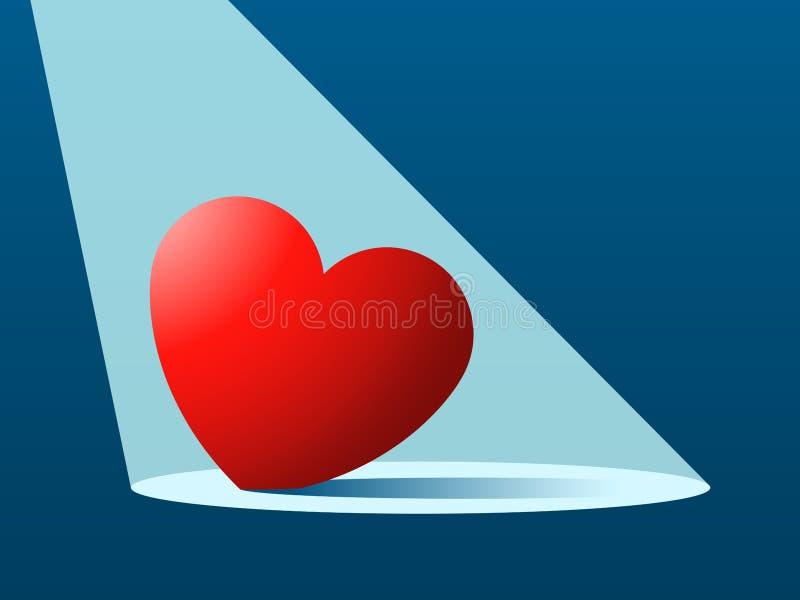 Verloren/gevonden hart in schijnwerper vector illustratie