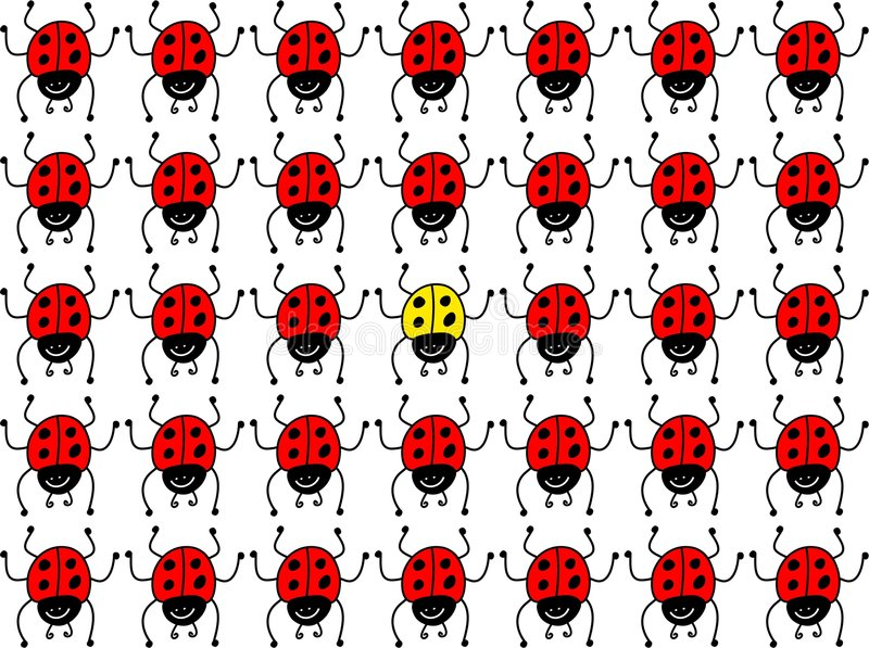 Verloren lieveheersbeestje royalty-vrije illustratie