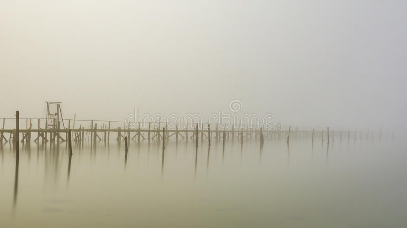 Verloren in mist stock foto