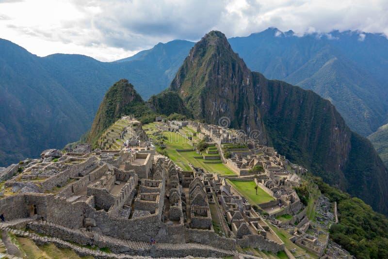Verloren stad van Machu Picchu en zijn ruïnes in Peru stock afbeelding